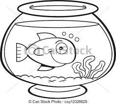 fish bowl clip art black and white. Modren White Cartoon Fish In A Bowl  Csp12326625 Inside Fish Bowl Clip Art Black And White