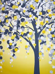 yellow and grey art textured tree acrylic painting on canvas 18x24 made to