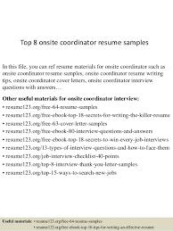 Experience In Resume Samples Top 8 Onsite Coordinator Resume Samples