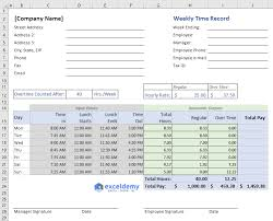 Hour Sheet Calculator Excel Formula To Calculate Hours Worked And Overtime With