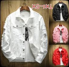 <b>Spring and autumn</b> new <b>men's</b> denim jacket washed hole ...