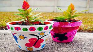most beautiful flower pot painting design ideas