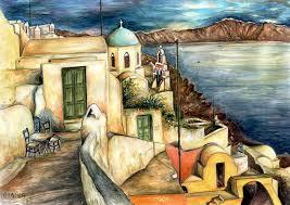 santorini painting oia santorini greece watercolor by peter potter