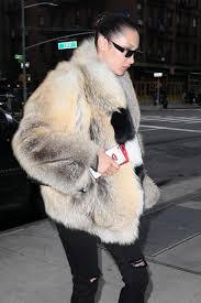 bella hadid in fur coat out in new york 04 04 3017