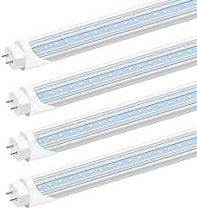 Led tube lights approximate light bulb length: Jesled T8 T10 T12 4ft Led Light Bulbs 6000k Cool White Clear Cover 24w 40 65w Equivalent 3000lm V Shaped Replacement Fluorescent Bulbs Ballast Bypass Dual End Powered Bi Pin G13 Base 4 Pack Amazon Com
