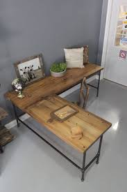 reclaimed wood office desk. L Shaped Desk, Wood Pipe Reclaimed Wood, Industrial Desk Office