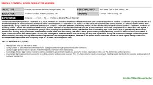 Control Room Operator Resume Cover Letter Cv Letters Resumes