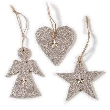 Weihnachtsbaum Anhänger Engel Herz Stern 3er Set