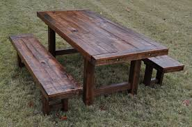 Picnic Table Dining Room Rustic Wood Picnic Table Sugarlips