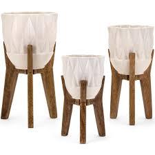 modern retro furniture. Mid Century Modern Retro White Vases On Wood Stands - Set Of 3 Furniture E