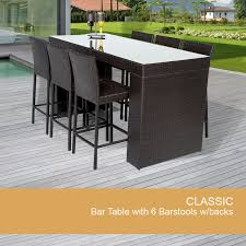 Bar Table Set With Barstools 7 Piece Outdoor Wicker Patio