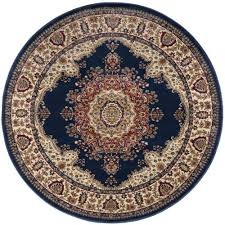 tayse rugs sensation navy blue 5 ft traditional round area rug