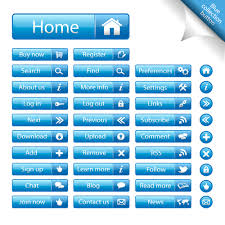 Shiny Blue Web Buttons Vectors Pack Free Download