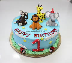 Animal Jungle Theme Small Personalized Eggless 3d Cake For 1st