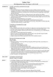 Financial System Manager Sample Resume Financial Systems Manager Resume Samples Velvet Jobs 1