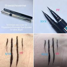 swatchoverme on insram nyx epic ink liner vs physician s formula eye booster in ultra black makeup dupe dupe that