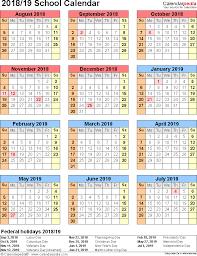 Free Printable School Calendar School Calendars 2018 2019 As Free Printable Word Templates