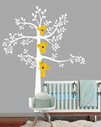 vinyl white tree wall decal nursery wall sticker bear cute bears trees home house wall decals