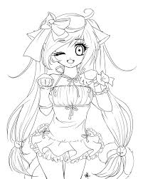 Small Picture Anime Girl Coloring Pages Printable Coloring Pages