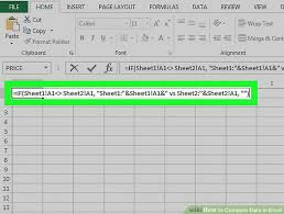 rate comparison format in excel 3 ways to compare data in excel wikihow