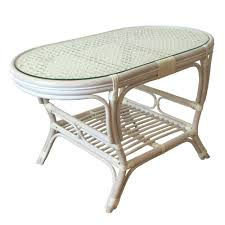 Coffee Table Rattan Oval Coffee Table Alisa Color Glossy White Wash With Glass Top