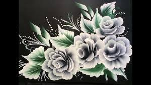 Black Colour Chart Paper One Stroke White Roses On Black Chart Paper