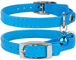 leather breakaway elastic strap cat collar with bell mint green com