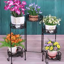 Folding 5 Tier Metal Plant Planter Flower Pot Stand Indoor Outdoor Vintage  Style