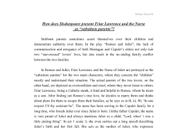 how does shakespeare present friar lawrence and the nurse gcse  document image preview