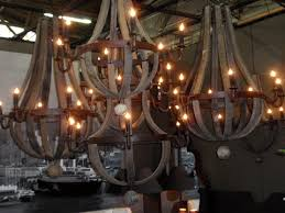 wine barrel lighting. reclaimed wood wine barrel chandeliers lighting
