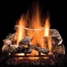 vented gas logs above feature realistic glowing embers and a tall lively flame