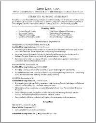 cna resume skills list examples certified nursing assistant by jane doe