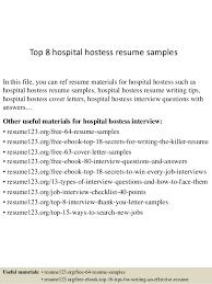 hostess sample resume top 8 hospital hostess resume samples