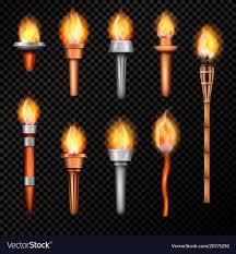 Fire Lighting Torch Fire Torch Realistic Set