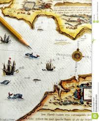 Antique Sea Navigation Map Stock Image Image Of Continents