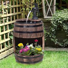 wood barrel pump fountain water feature