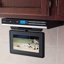Under Cabinet Tvs Kitchen The Under Cabinet Tv With Dvd Player Hammacher Schlemmer