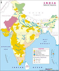 The indian subcontinent has a history of devastating earthquakes. Map Of India Depicting The Natural Hazards Which Occur In The Country Map Also Shows The Incidence Of Earthquakes Of Various Mag India Map India World Map Map