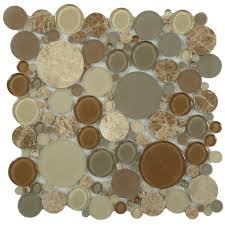 Circle Tiles Circles Brown Glass And Stone Penny Circles Tile Glossy Frosted