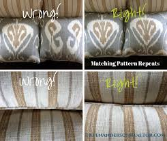 example of how to match your fabrics on each seat cushion