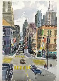 city painting ideas how to paint a busy city landscape