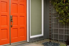 Exterior Design Red Entrance Door With White Framed Door Uses Contemporary  Handle Also Has Gray Color