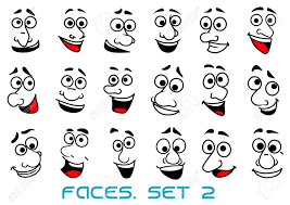 funny human faces in cartoon style with happy toothy smiles for avatar or ic book design