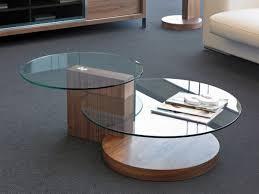 porto lujo modern double round glass coffee table in walnut