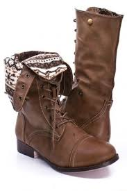 shoes print brown combat boots