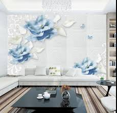 Us 1019 49 Off3d Blauwe Bloemen Vlinder Wallpapers Foto Muurschildering Voor Woonkamer Moderne Behang Klassieke 3d Muurschildering Stof Muur