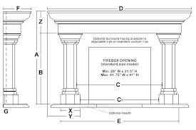 product dimensions standard fireplace size