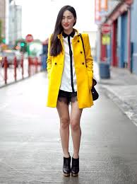 a cute yellow peacoat