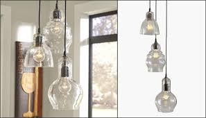 each clear seeded glass shade is shaped slightly diffe and the fixtures are fully adjule so you can stagger their height for a quirky