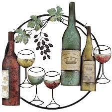 Lakeside metal holiday santa wine bottle and glass holder stand decoration. 25x26 Wine Bottle Round Metal Wall Decor At Home